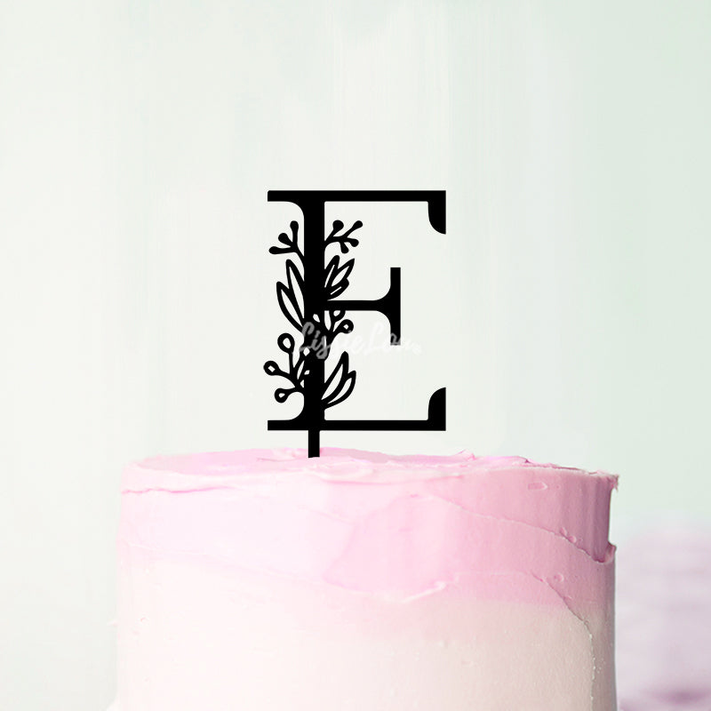 Wedding Floral Initial Letter E Style Cake Topper