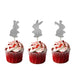 Easter Bunny Cupcake Topper - Glitter Gold - Pack of 6