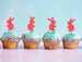 Cute Easter Bunny with Fluffy Tails Cupcake Topper Pack of 4 Glitter Card Light Pink
