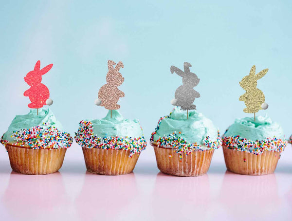 Cute Easter Bunny with Fluffy Tails Cupcake Topper Pack of 4 Glitter Card Mixed Pack