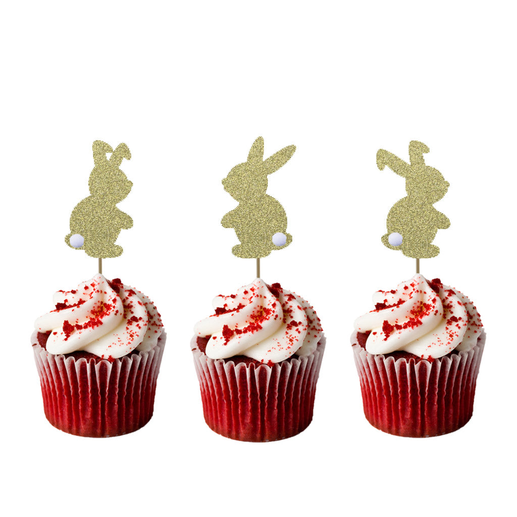 Easter Bunny Cupcake Topper - Glitter Gold with Fluffy Tails - Pack of 6