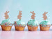 Cute Easter Bunny with Fluffy Tails Cupcake Topper Pack of 4 Glitter Card Rose Gold