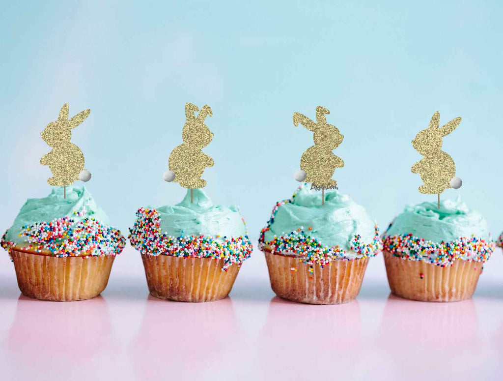Cute Easter Bunny with Fluffy Tails Cupcake Topper Pack of 4 Glitter Card Gold