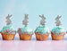 Cute Easter Bunny with Fluffy Tails Cupcake Topper Pack of 4 Glitter Card Silver