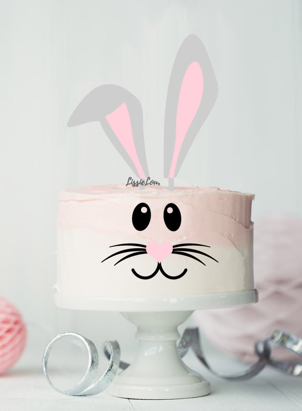 Easter Bunny Ear Cake Kit Topper Set Premium 3mm Acrylic Grey