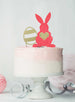 Easter Bunny with Heart and Easter Egg Cake Topper Glitter Card Light Pink and Gold