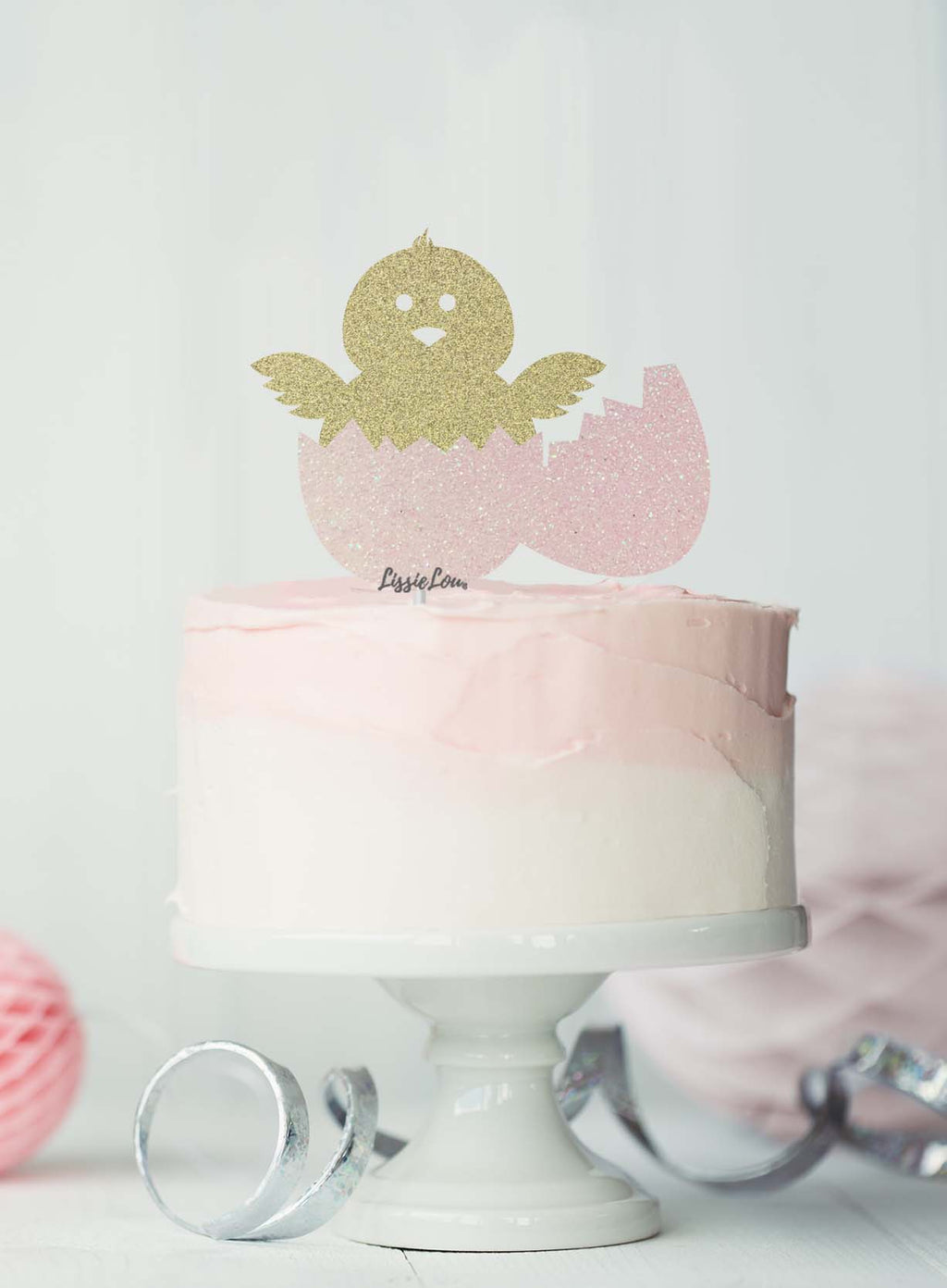 Cute Easter Chick and Egg Cake Topper Glitter Card Gold and White