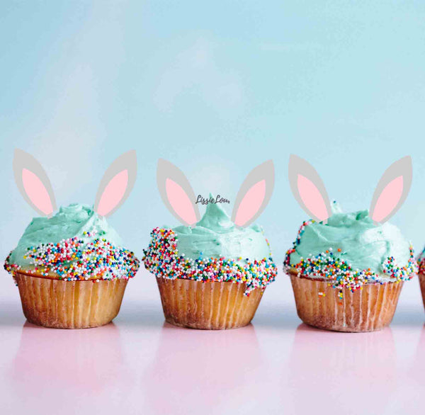 Easter Bunny Ear Cupcake Toppers Set of 3 Premium 3mm Acrylic Grey