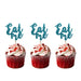 Eat Me glitter cupcake toppers Light Blue
