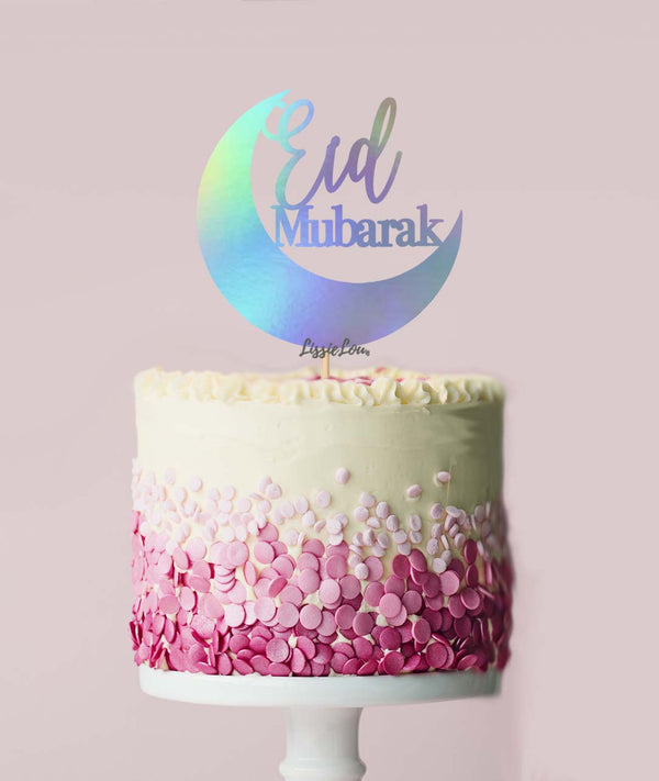 Eid Mubarak Moon Cake Topper Mirror Irridescent