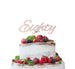 Eighty Birthday Cake Topper 80th Glitter Card White