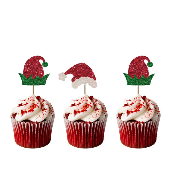 Christmas Santa and Elf Hat Cupcake Toppers - Pack of 8