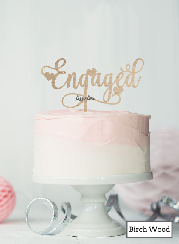 Pretty Engaged Cake Topper with Hearts Premium 3mm Birch Wood