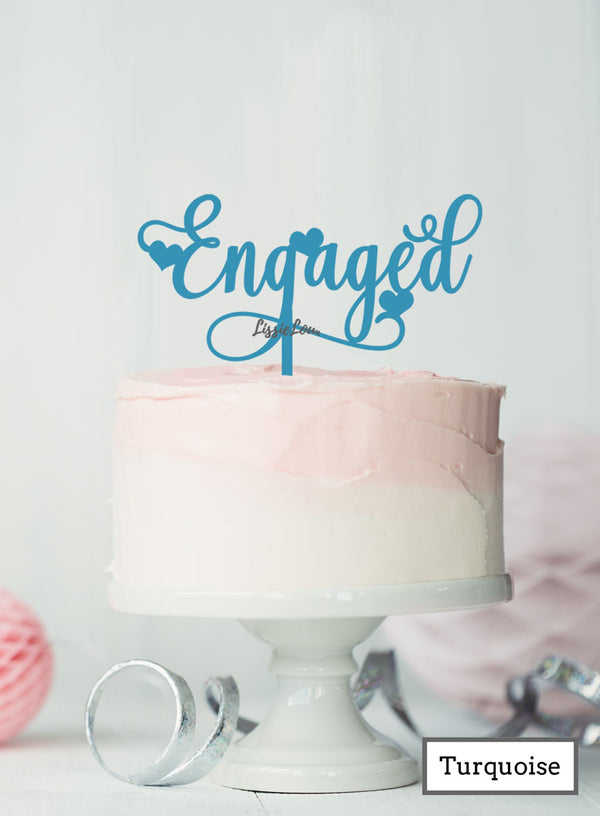 Pretty Engaged Cake Topper with Hearts Premium 3mm Acrylic Turquoise