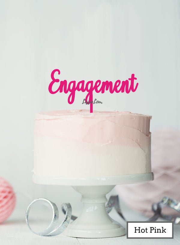Engagement Cake Topper Premium 3mm Acrylic Hot Pink