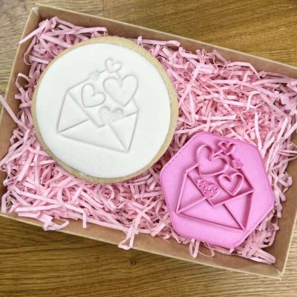 Envelope of Hearts Cookie Stamp