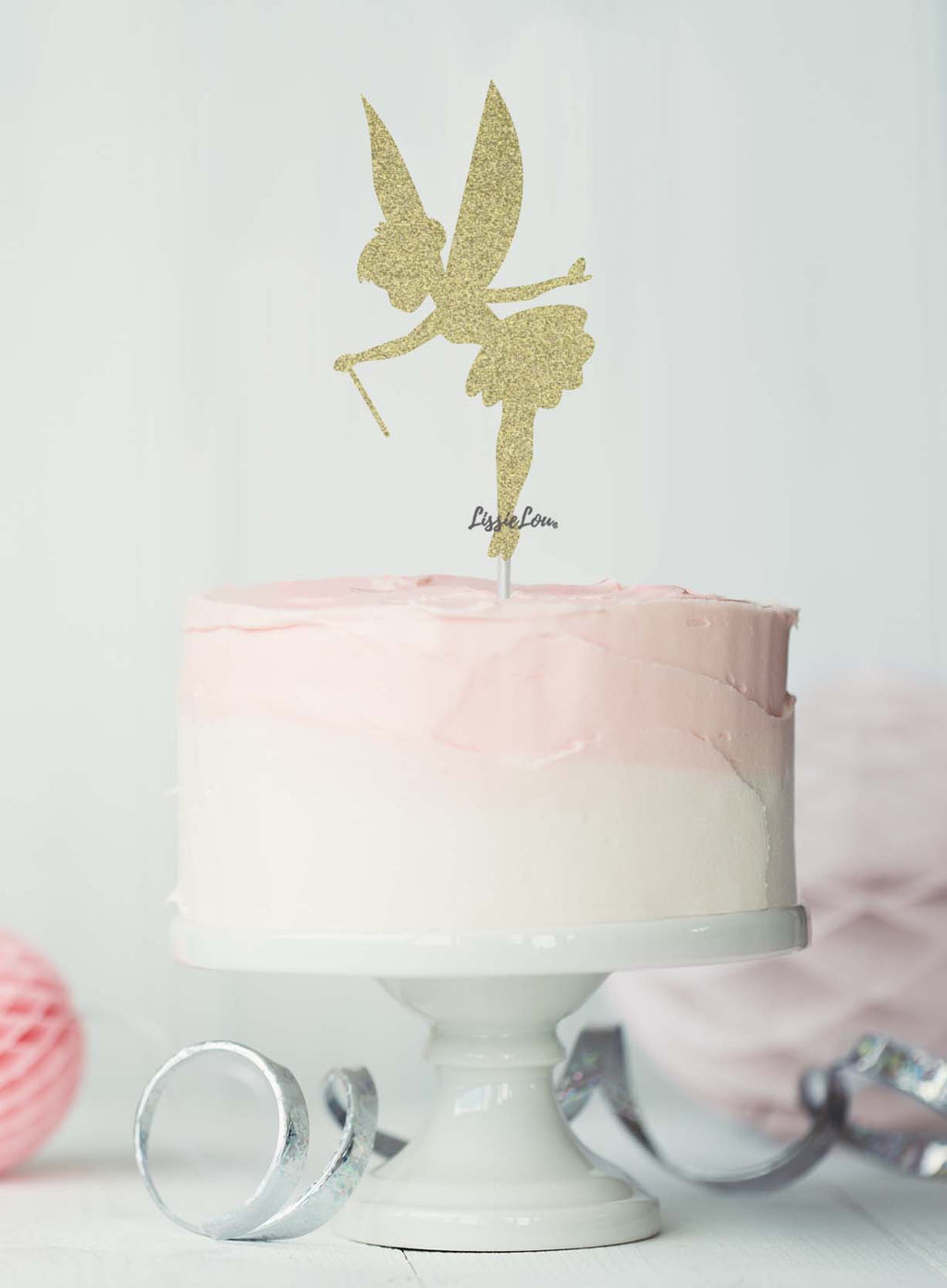 Fairy Birthday Cake Topper Glitter Card Gold