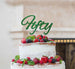Fifty Birthday Cake Topper 50th Glitter Card Green