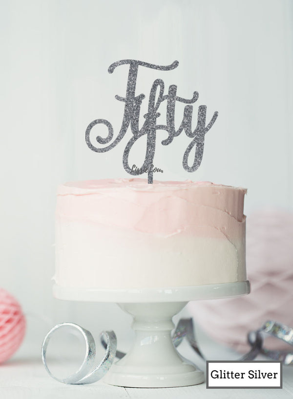 Fifty Swirly Font 50th Birthday Cake Topper Premium 3mm Acrylic Glitter Silver