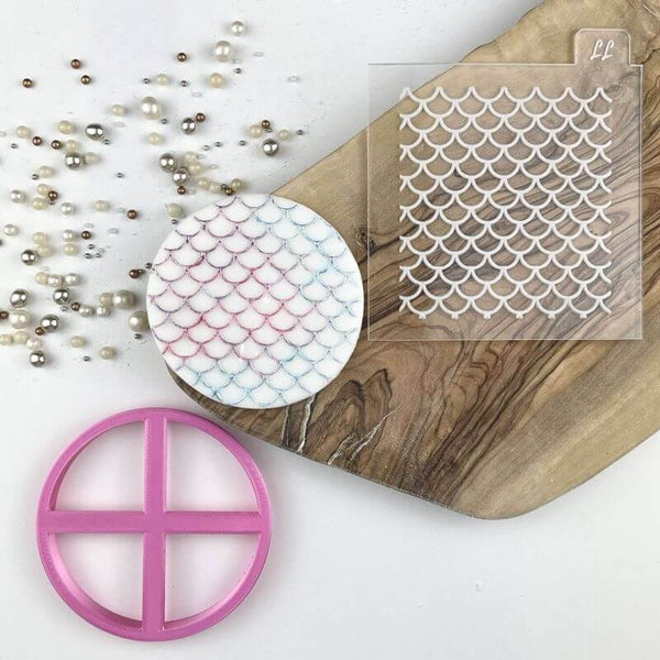 Fish Scales Texture Tile Cookie Cutter and Embosser