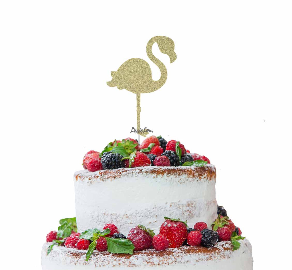 Flamingo Cake Topper Glitter Card Gold