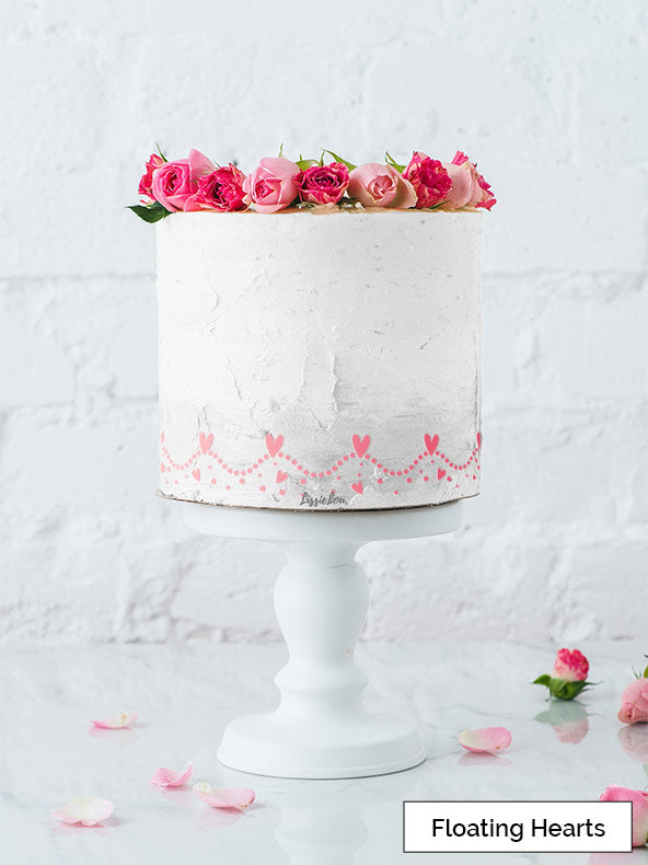 Floating Hearts Cake Stencil - Border Design