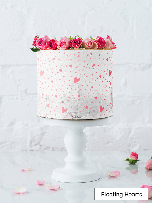 Floating Hearts Cake Stencil - Full Size Design