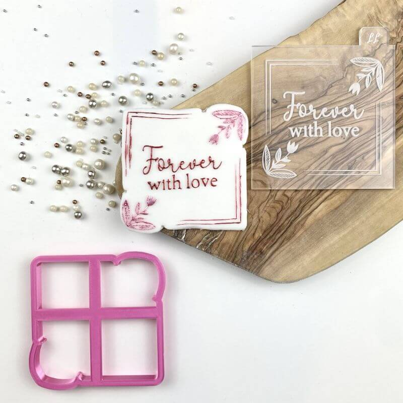 Forever with Love in Square Border Cookie Cutter and Embosser