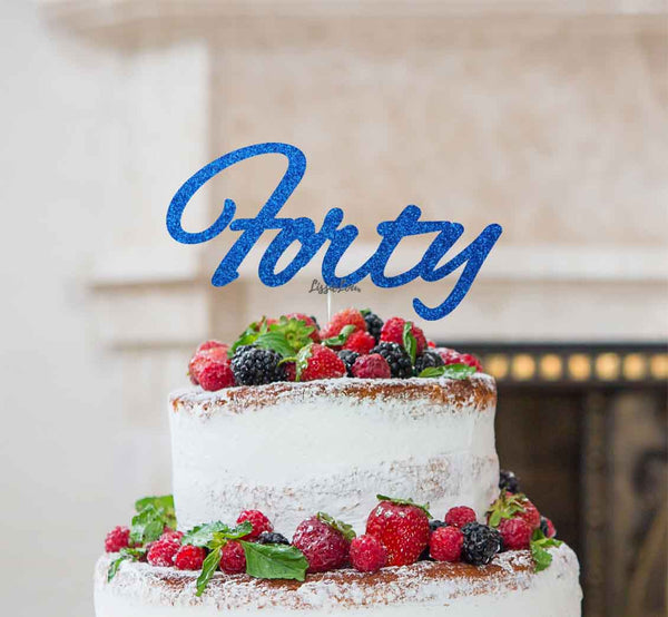 Forty Birthday Cake Topper 40th Glitter Card Dark Blue