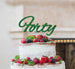Forty Birthday Cake Topper 40th Glitter Card Green