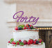 Forty Birthday Cake Topper 40th Glitter Card Light Purple