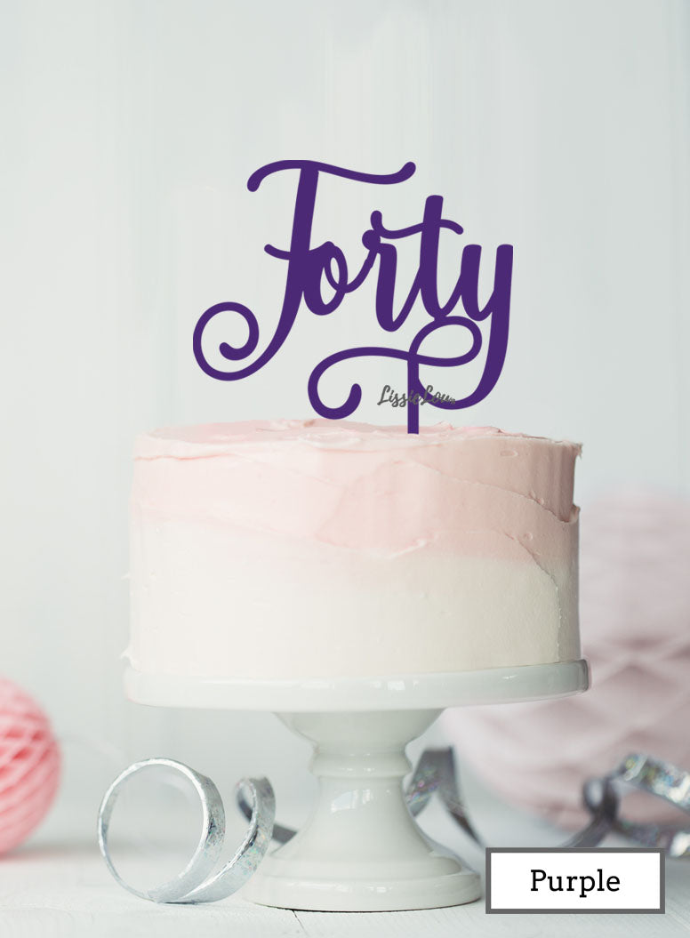Forty Swirly Font 40th Birthday Cake Topper Premium 3mm Acrylic Purple