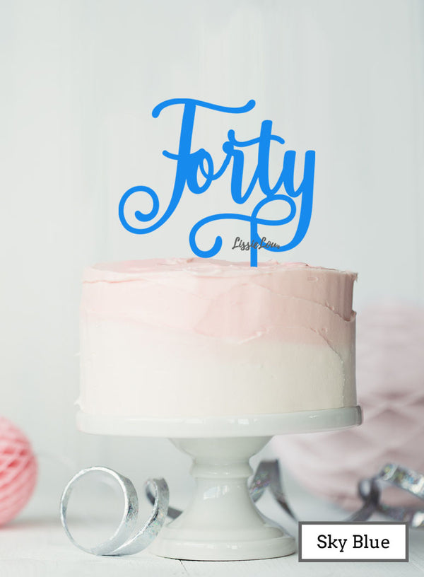 Forty Swirly Font 40th Birthday Cake Topper Premium 3mm Acrylic Sky Blue