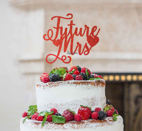 Future Mrs Hen Party Cake Topper Glitter Card Red