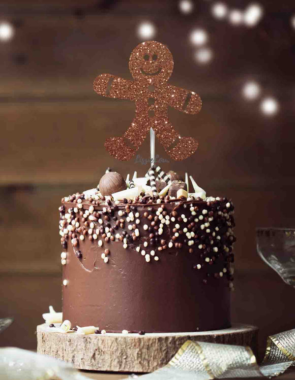 Gingerbread Man Christmas Cake Topper Glitter Card Brown