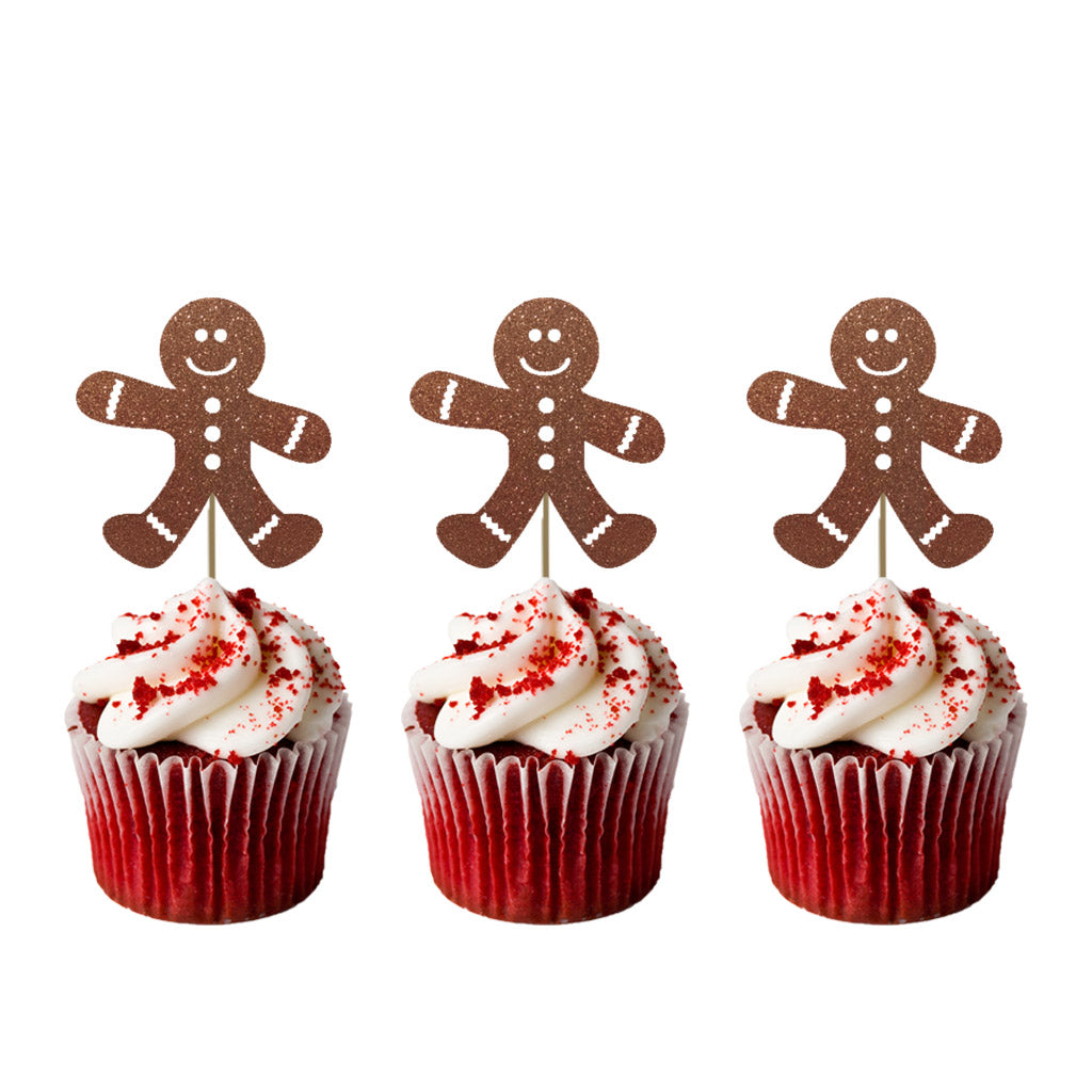 Christmas Cupcake Toppers.Gingerbread Man Christmas Cupcake Toppers Pack Of 8