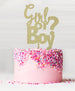 Girl or Boy Baby Shower Cake Topper Acrylic Glitter Gold