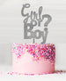 Girl or Boy Baby Shower Cake Topper Acrylic Glitter Silver