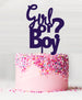 Girl or Boy Baby Shower Cake Topper Acrylic Purple