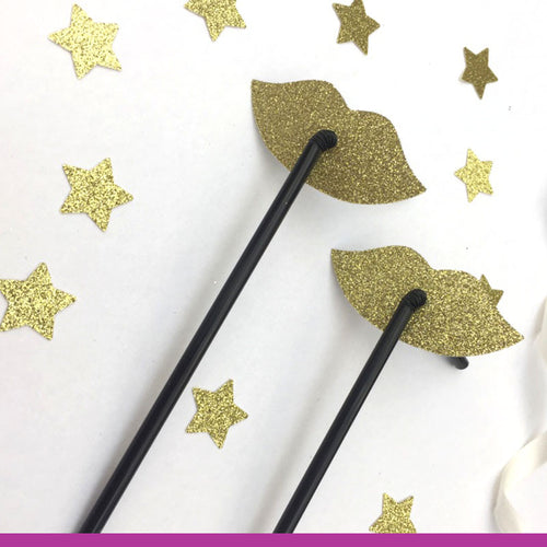 Glittery Lip Straws - Glitter Gold Hen Party Straws - Classy Hen Party Straws - Pack of 10