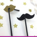 Lip and Moustache Glitter Party Straws Gold and Black