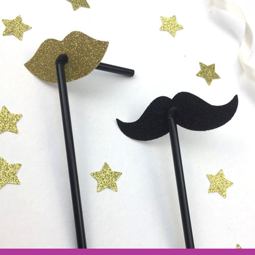 Glittery Lip and Moustache Straws - Glitter Gold and Black Hen Party Straws - Classy Hen Party Straws - Pack of 10