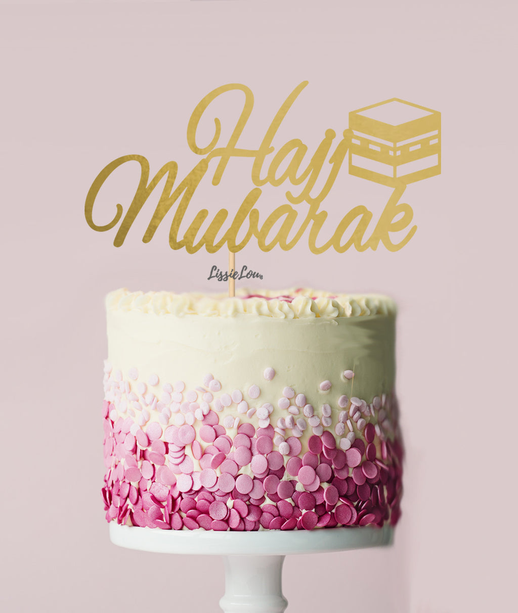 Hajj Mubarak Pretty Cake Topper Mirror Card Gold