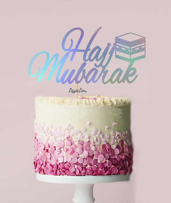 Hajj Mubarak Pretty Cake Topper Mirror Card Iridescent