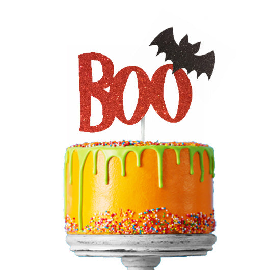Boo with Bat Halloween Cake Topper Glitter Card Red with Black