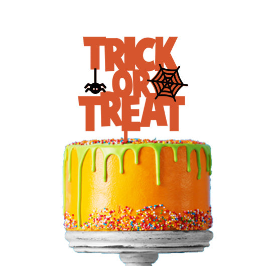 Halloween Trick or Treat Acrylic Cake Topper Premium 3mm Acrylic Orange and Black