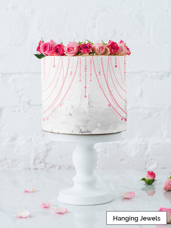 Hanging Jewels Cake Stencil - Full Size Design