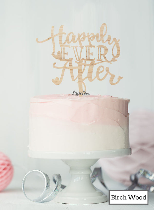 Happily Ever After Wedding Cake Topper Premium 3mm Birch Wood