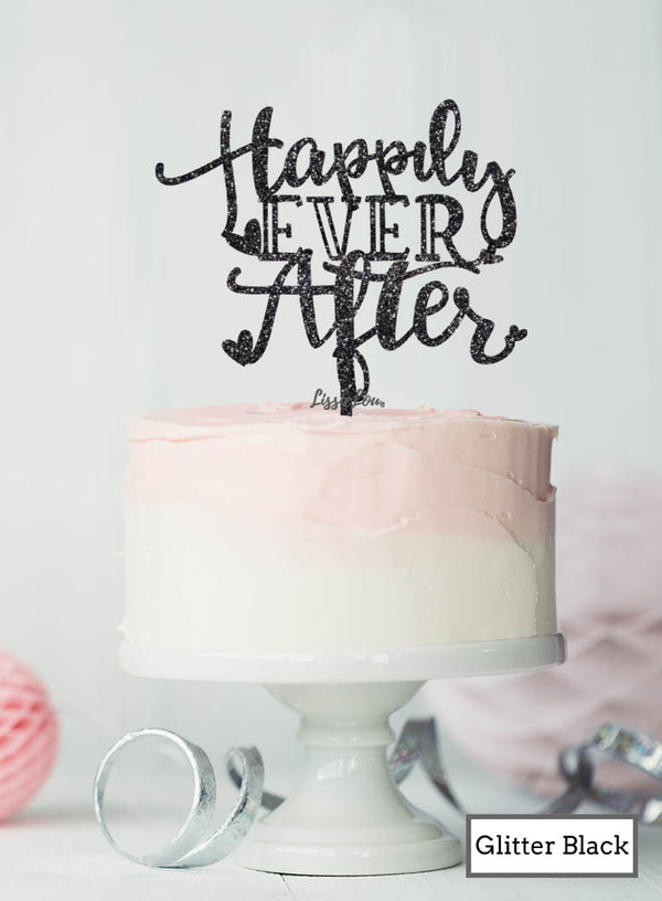 Happily Ever After Wedding Cake Topper Premium 3mm Acrylic Glitter Black