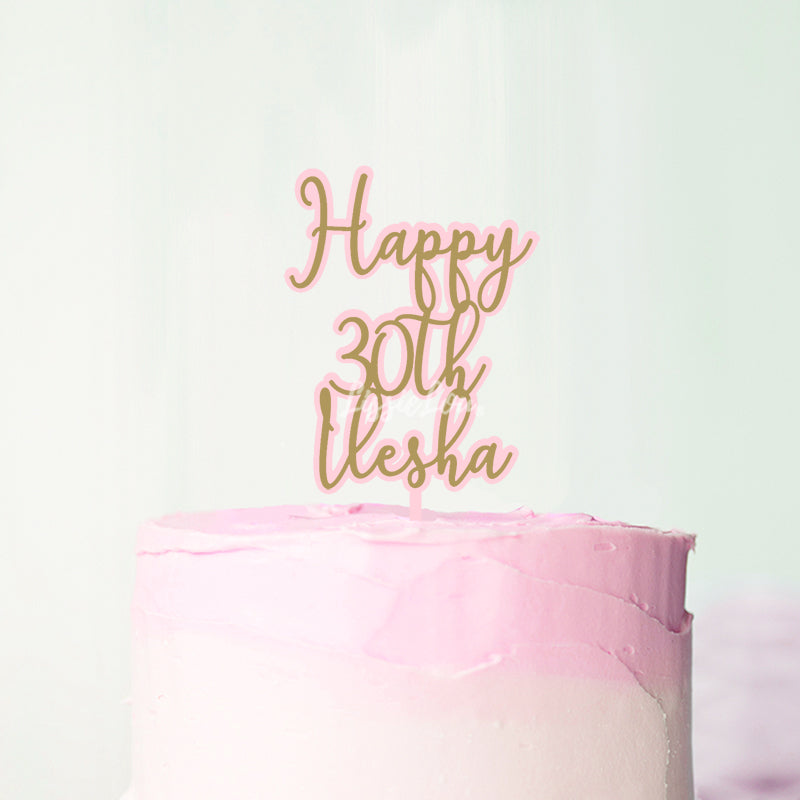 Happy 30th Ilesha Double Layer Birthday Cake Topper Premium 3mm Acrylic or Birch Wood